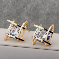 Shiny Small Diamond Stud Earring Geometry Gold Stud Earrings