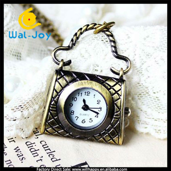 fashion bag shape pocket watch ladies necklace watch(sW-1104)