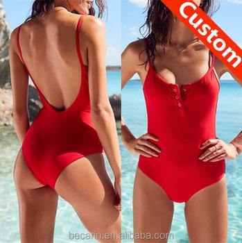 5b357e83d13d6 custom sexy red swimsuit open back one piece bathing suit swimwear women