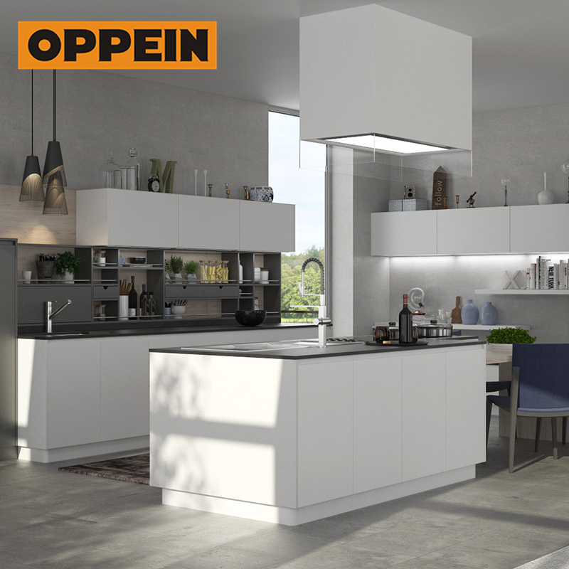 OPPEIN 2019 new products melamine innovative social island design kitchen <strong>cabinets</strong> with high quality