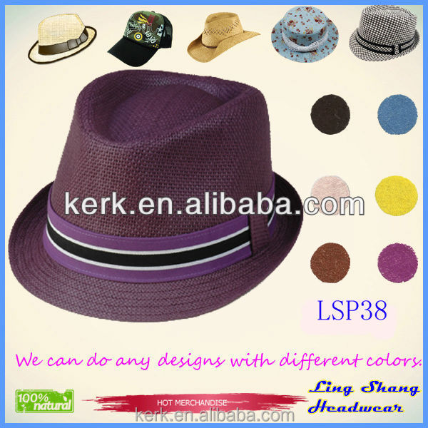 New 2015 Panama Fedora Hats for Women Men Jazz Caps Unisex Top Hat Straw Sun Beach Cap Brief Style Solid Color,LSP38