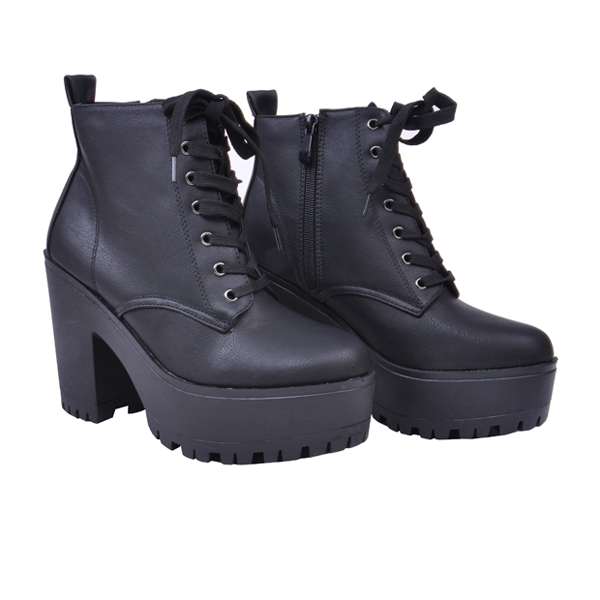 comfortable army style lace up chunky heel high heel winter boots for women