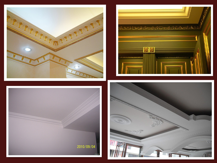 Pu artistic thin wood crown molding for home interior for Interior cornice designs