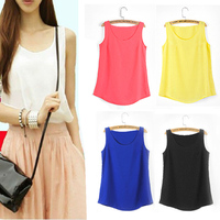 plain Fashion Womens Chiffon Sleeveless Shirt Vest Tank Tops Blouse for sale plus size SV001823