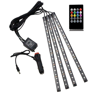 Light In Car 7 Colors 12 Chips Styling Music Control Car RGB LED Strip Light Atmosphere Lamp Kit with IR Remote Interior Lights