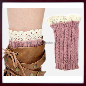 Lady's Fashion Crochet Boot Cuffs Boot Toppers Leg Warmers Socks, Women Lace Trim Knit Boot Cuffs