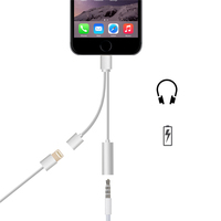 2 in 1 8pin Converter +Charging, Earphone to 3.5mm Audio Cable Adapter listening to Music and Charge for iphone 7 plus