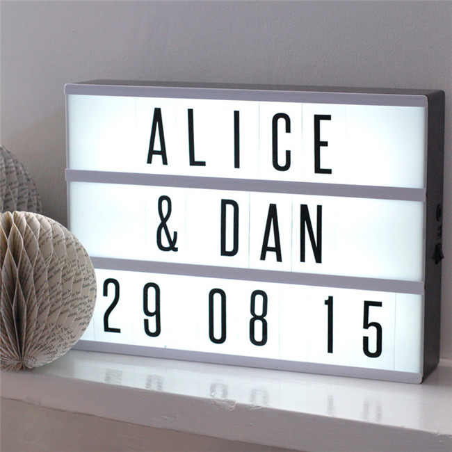 A4 A5 cinema letters light box decorative led light box with letters