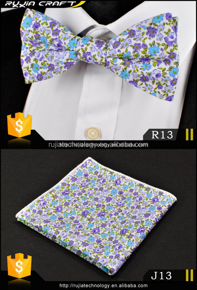 New Deaign Cotton Men's Wedding Bow Tie Handkerchief Set