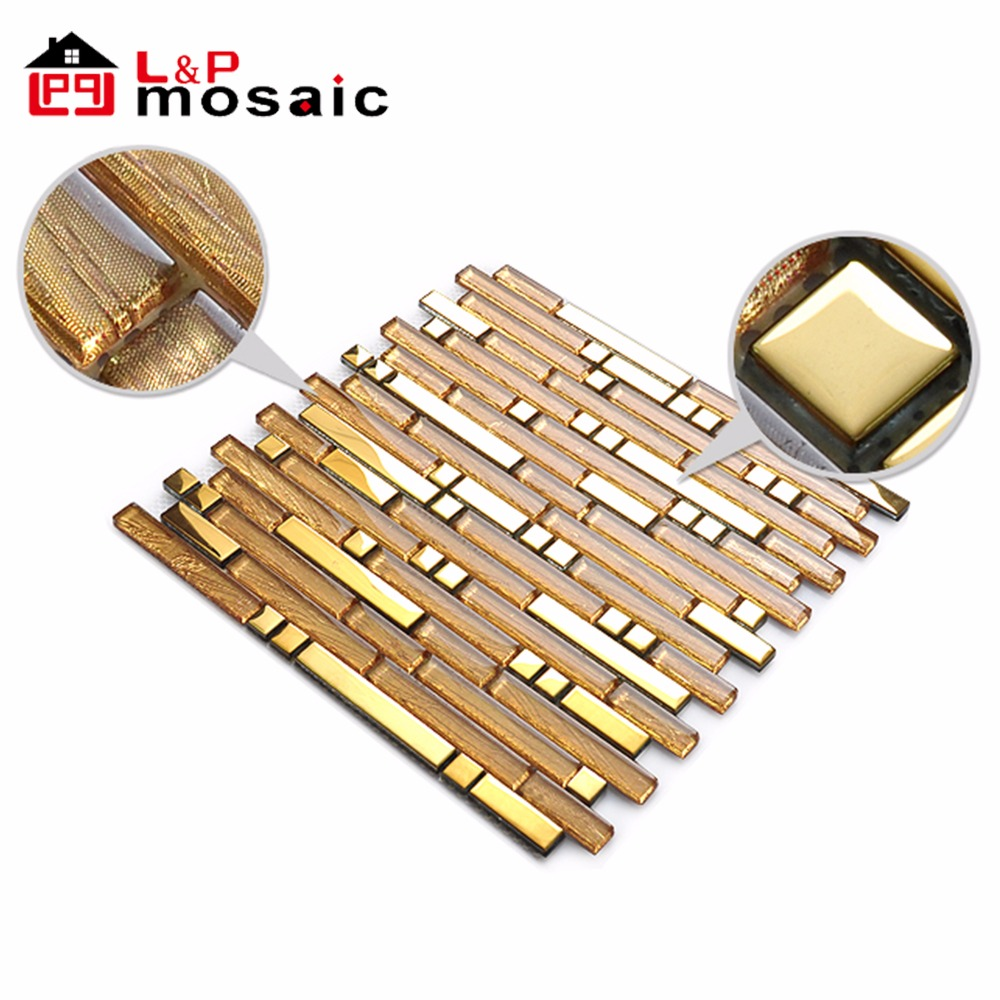 2018 Hot sale crystal glass gold mosaic tile