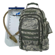 Air Force/ Army Digital/ Coyote hydration pack with 100oz. water bladder Constructed of 600 denier polyester with vinyl