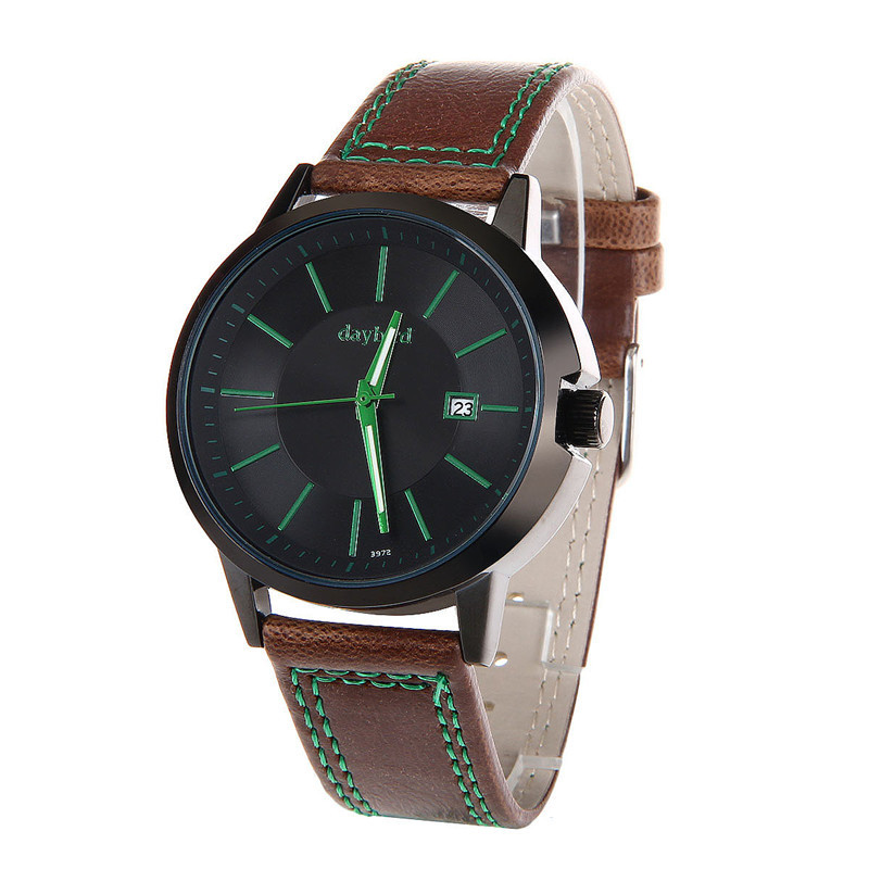 2015 Daybird Green Quartz Men's Wristwatch PU Leather Band Watches Casual Fashion Style High Quality Waterproof WristWatches