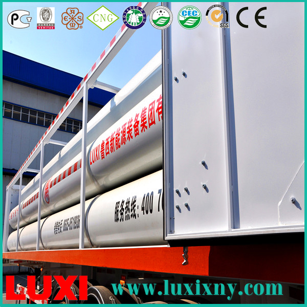tube bundle skid container 25Mpa cng tube trailer gas fuel tanks , type 2 cng cylinders