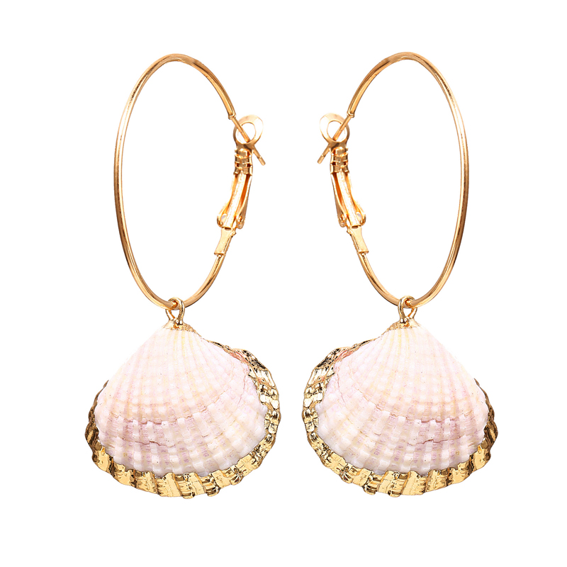 Trade Assurance INS Best Selling Vintage Big <strong>Hook</strong> Inlaid <strong>Gold</strong> Scallop Shell <strong>Earrings</strong>