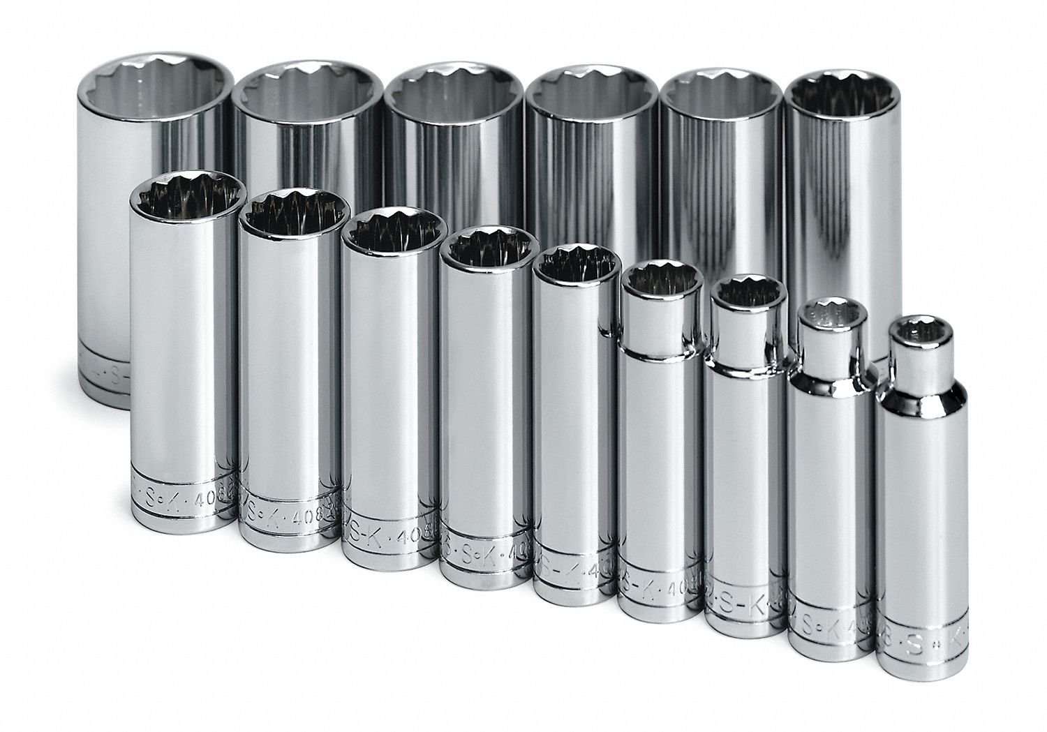 """1/2""""Drive SAE Chrome Socket Set, Number of Pieces: 15"""