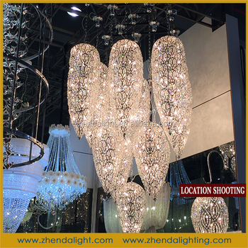 Cone shape crystal stainless chandelier for lounge bar public area cone shape crystal stainless chandelier for lounge bar public area aloadofball Images