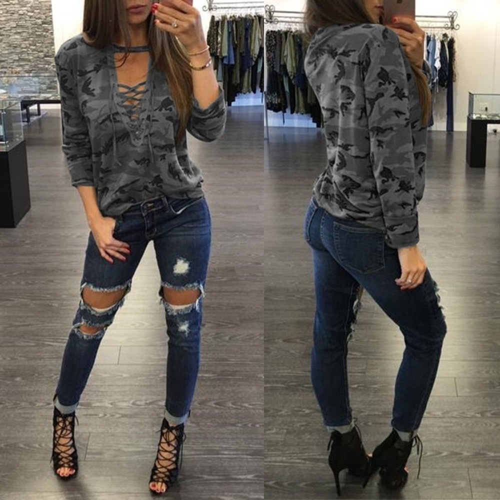 Ladies Army Military Camouflage hollow strap long sleeve T-shirt Clothes