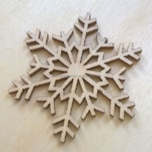 Christmas supplier laser cut custom wood snowflake ornament
