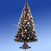 Colourful Handmade Ball Optic Fiber Christmas Tree, Plastic Or Metal Base Christmas Ornament Tree