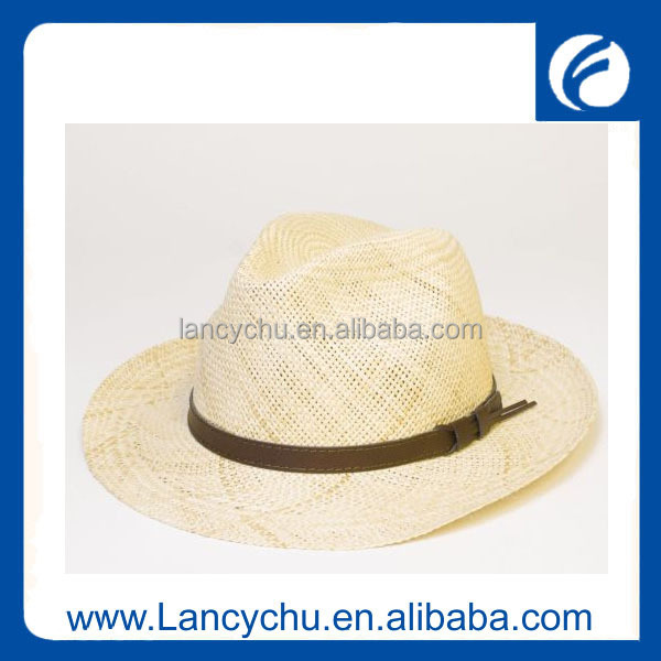 cheap Custom Logo leather ribbon natural wheat Promotional paper Straw Hat
