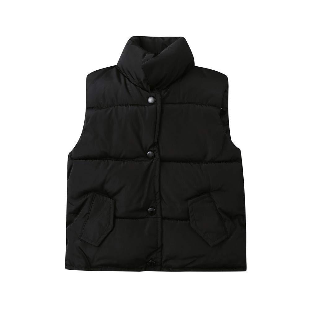 Baby Boys Girls Vest Coat Winter Lightweight Sleeveless Waistcoat Jacket Cotton Coat Clothes (age: 5-6 years old, Black)