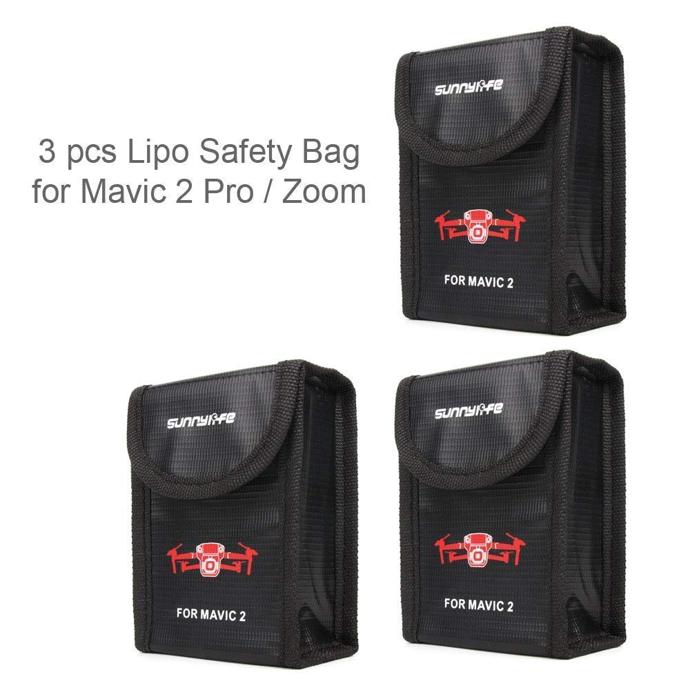 DJI Mavic 2 Pro/Zoom Accessories Fireproof Lipo Safety Bag - Heat-Resistance Protective Cover Explosion-Proof Li-po Safe Guard Bag Pouch Charging Storage Holder (Battery is NOT Included) (3pcs)