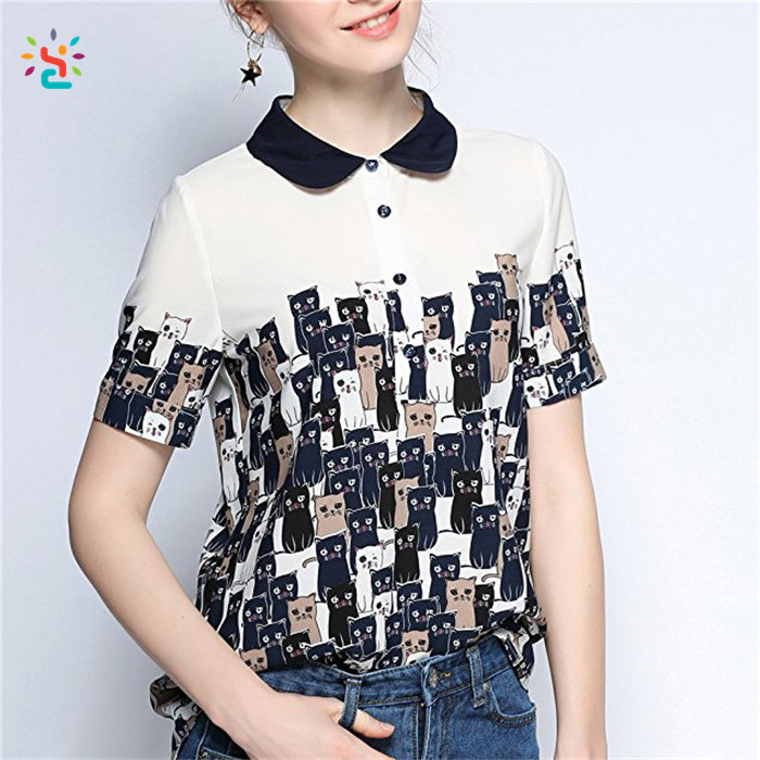 Latest design cute women cats printed t shirt short sleeve chiffon and rayon collar blouse tees