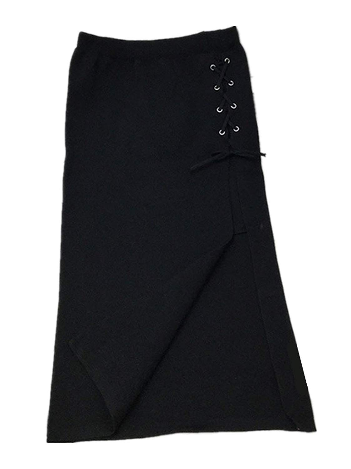 ed14caef8aa Get Quotations · Season Show Women s High Waisted Pencil Skirt Slit Knit  Bodycon Midi Skirt
