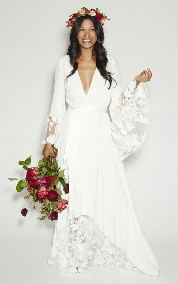 2015 new arrival fashion boho bohemian hippie style beach wedding dresses long sleeves v neck. Black Bedroom Furniture Sets. Home Design Ideas