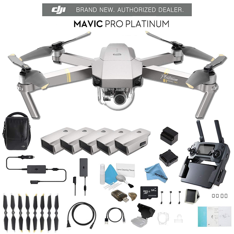 DJI Mavic Pro Platinum Fly More Combo CP.PT.00000069.01 + 2 DJI Intelligent Flight Battery for Mavic Pro Platinum (5 Total) and Much More.