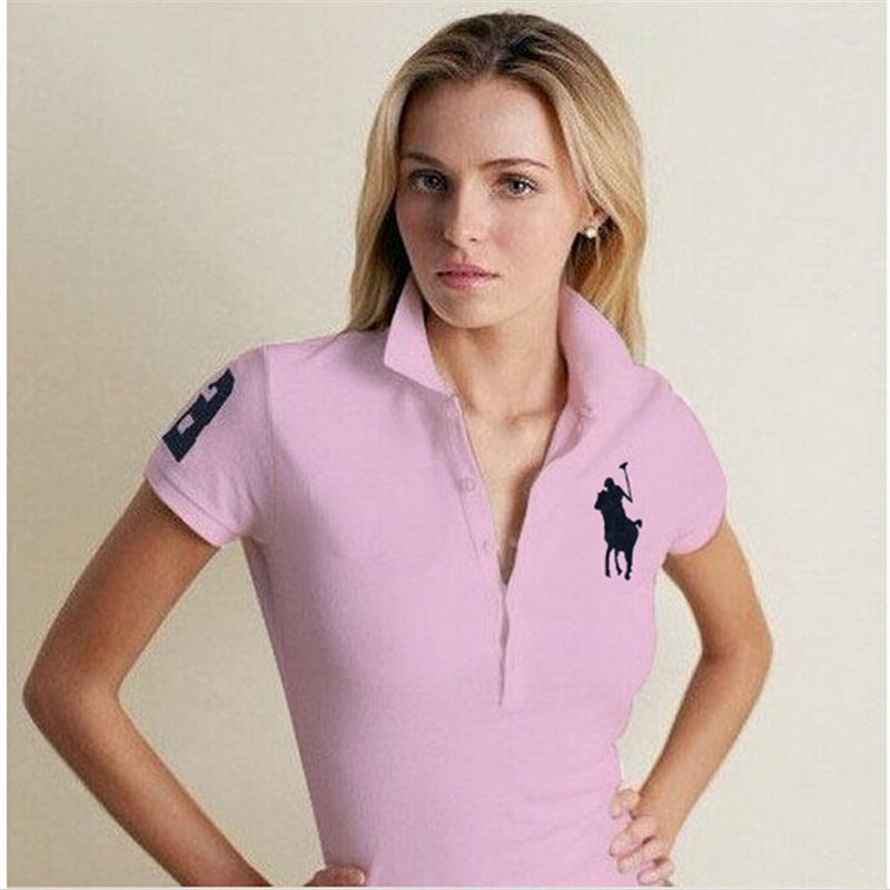 Женщины марка поло рубашки embroibery короткий рукав рубашка для женщины компактный лошадь множественный спорт сплошной camisa feminina