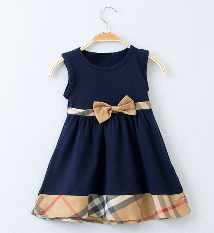 5pcs/lot wholesale sleeveless kids dress,bow brand grils dres, summer kids clothes ,children clothes