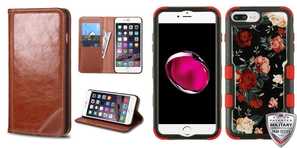 c9bb5a2608 Combo pack Brown Genuine Leather MyJacket Wallet(PR002) (with Package) for  APPLE iPhone 6s Plus 6 Plus And Red and White Roses (Natural Black) Red  TUFF ...