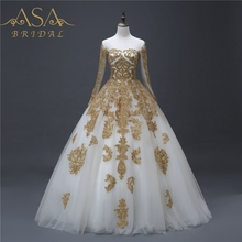 YASA-020 Vintage Custom made Perline Bianco e Oro Applique <span class=keywords><strong>Sposa</strong></span> Ball Gown <span class=keywords><strong>Musulmano</strong></span> Gonna Manica Lunga <span class=keywords><strong>Abito</strong></span> <span class=keywords><strong>Da</strong></span> <span class=keywords><strong>Sposa</strong></span>