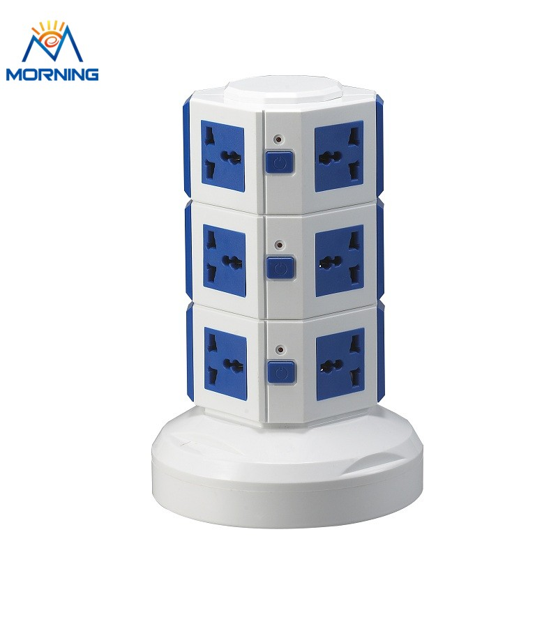 ME-S3 Three Layers Overload protection Power Extension of Vertical Rotary Socket with One Meter power line and Two USB