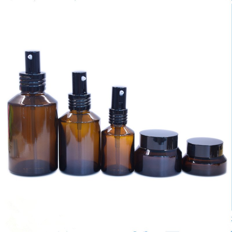 Luxury 30ml 60ml 100ml 120ml amber bottle glass 15ml 30ml 50ml amber cosmetic jar