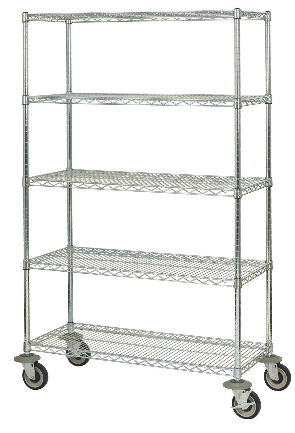 """Omega Precision - 18"""" Deep x 24"""" Wide x 60"""" High Chrome Wire 800lb Capacity 5 Shelf Truck<br> Qty(5) 18"""" Deep x 24"""" Wide Chrome Wire Shelves Qty(4) 54"""" High Posts Qty(4) 5"""" Rubber Casters (2 w/ brake)"""