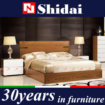 High Quality Indian Bedroom Furniture Designs, MDF Modern Bed Designs, Wooden Double Bed  B 813
