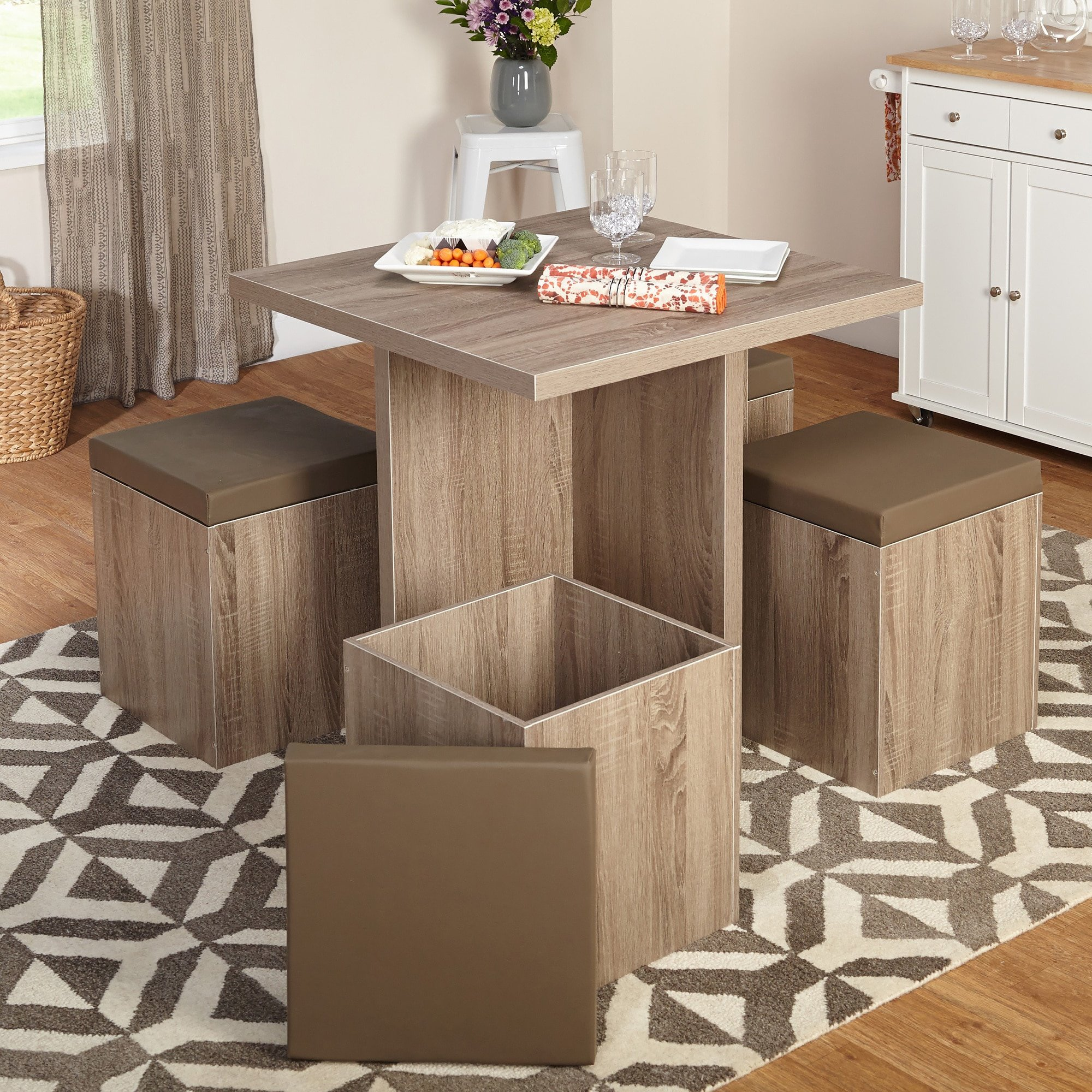 Get Quotations 5 Piece Dining Set With Storage Ottomans One Square Table Four Cushioned