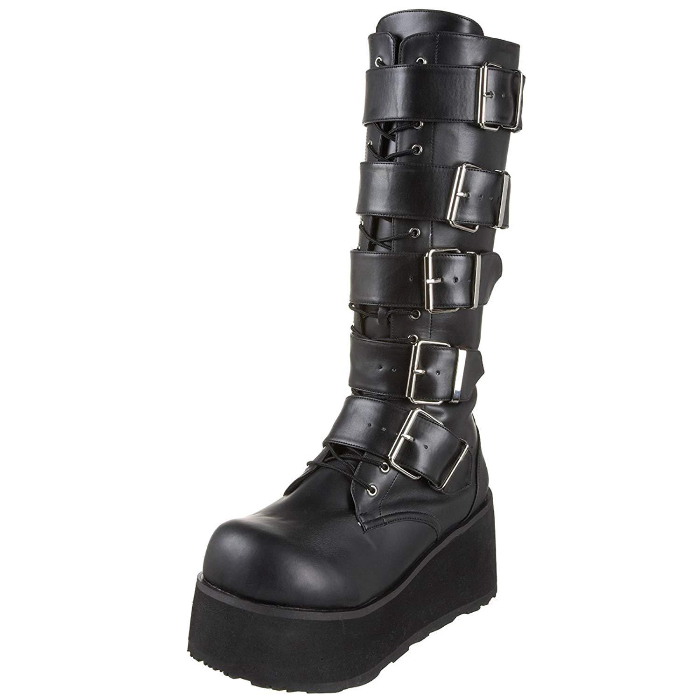 Get Quotations · Summitfashions 3 1 4 Inch Mens Platform Knee Boots 5  Buckled Black Combat Boots Punk 29eab3d13cba