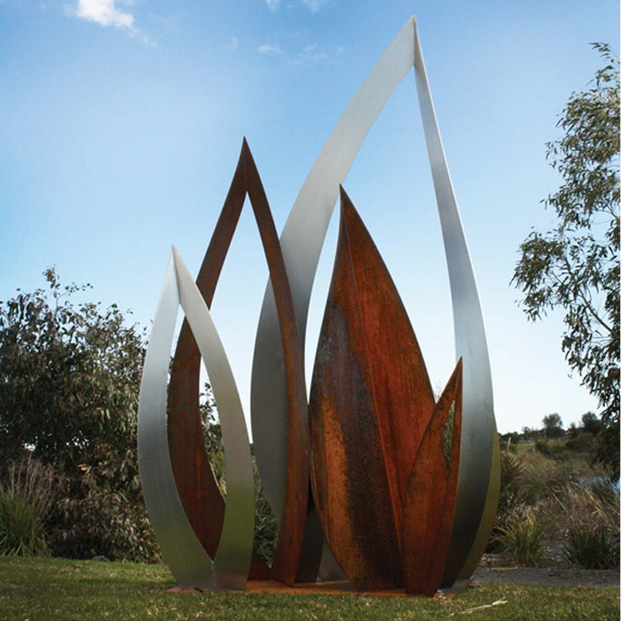 Wholesale Outdoor Metal Garden Art Corten Steel Leaf Sculpture