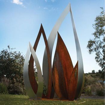 Whole Outdoor Metal Garden Art Corten Steel Leaf Sculpture