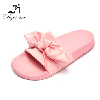womens beach comfy rubber satin bow sliders custom made flats shoes