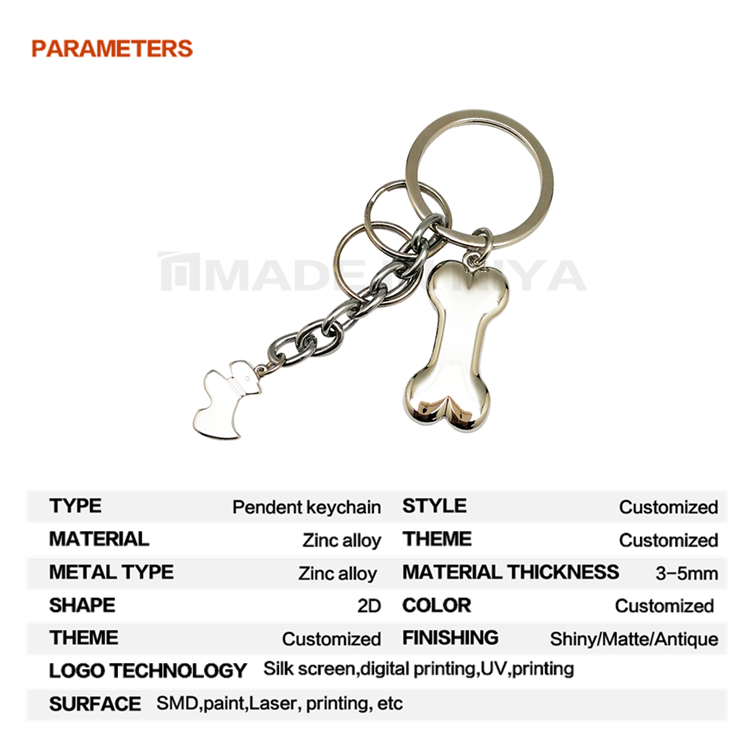 Hongkong Print Bone Pendant Fittings Game Keychain For Multiple Keys