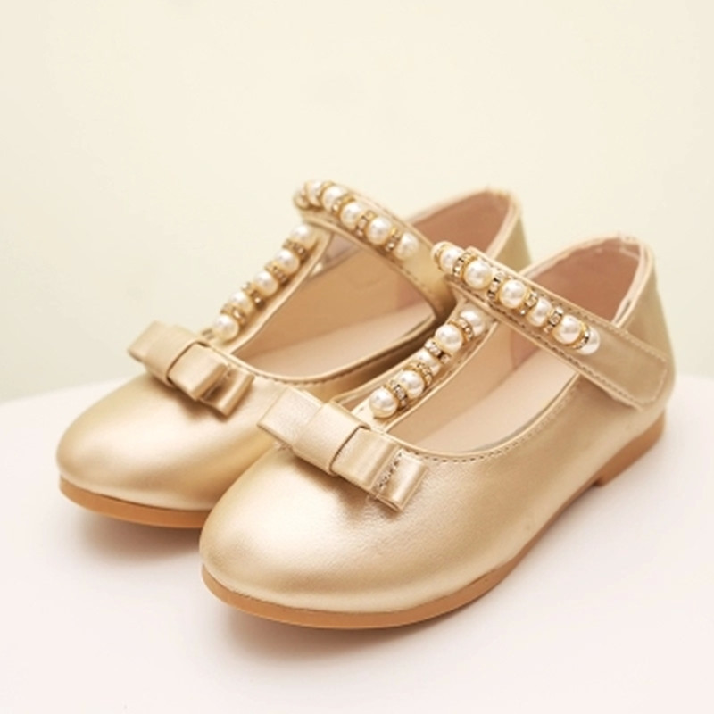 60d0b32894a Get Quotations · New fashion children shoes dancing kids shoes shinny  bowknot PU flat with girls shoes gold silver