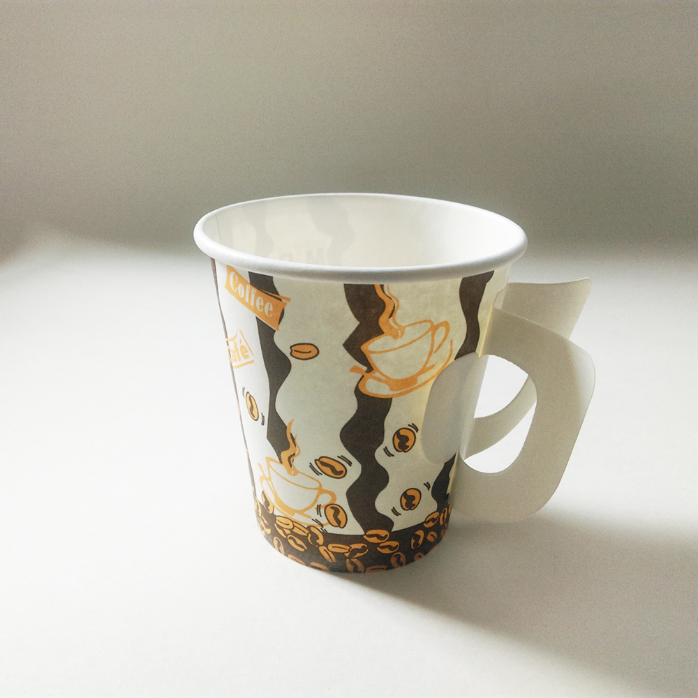 7oz Disposable Hot Drink Paper Cup With Handle Disposable