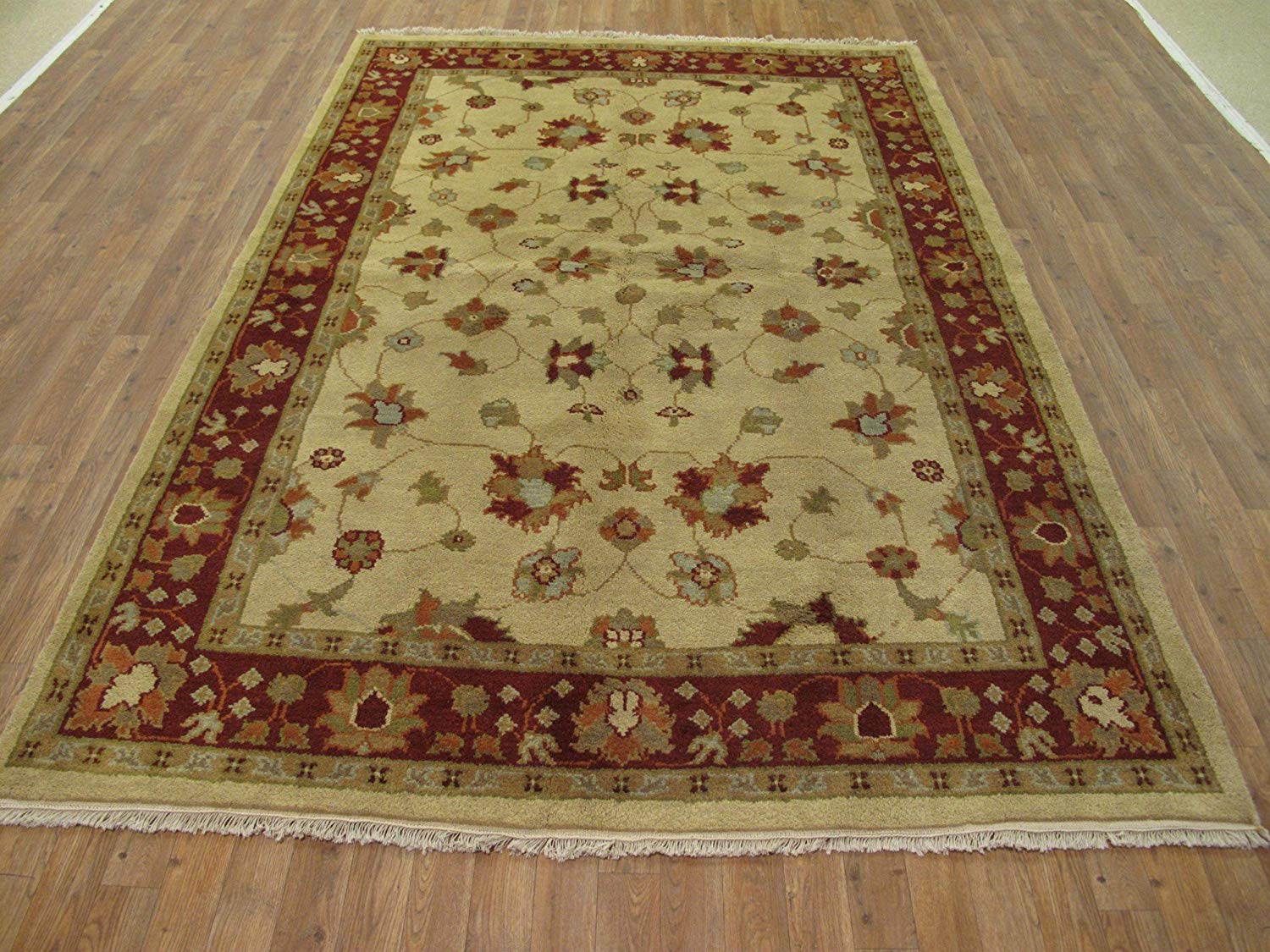 NYC Rugs New, Beige, 6' x 8'9 Indo Mahal Rug - Hand-Knotted Wool