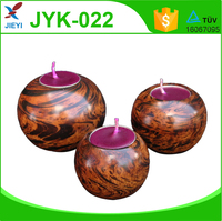 Wooden finished round luxury resin candle jar
