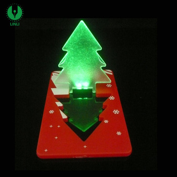 hot sale plastic customized gift logo christmas tree light with led mini pocket card light