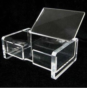 High Quality!Acrylic business card display with cover/acrylic business card box/plexiglass display case for business card